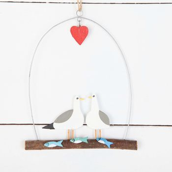 Seagulls In Love Hanging Driftwood Decoration