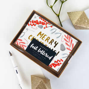 Illustrated Foliage Foiled 'Merry Christmas' Card Pack
