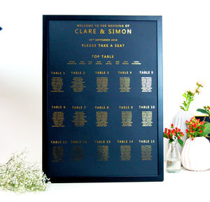 Large Black And Gold Wedding Seating Plan Table Plan - table plans