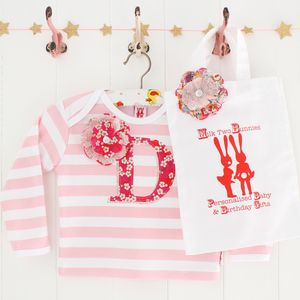 Personalised Letter Baby T Shirt And Bag