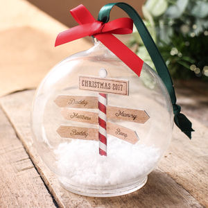 Personalised Family Christmas Sign Post Bauble - baubles & hanging decorations