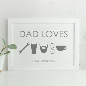 Personalised 'Dad Loves' Icon Fathers Day Print - personalised