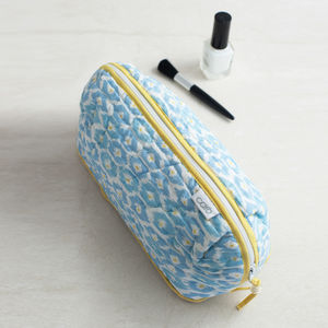 Make Up Bag Or Wash Bag And Eye Mask In Blue Hexagon - make-up & wash bags