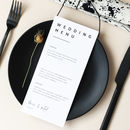 Modern Type Wedding Menu