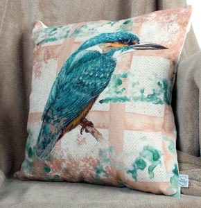 Watercolour Kingfisher Bird Natural Linen Cushion