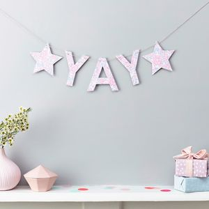 Yay Or Congrats Garland Liberty Fabric And Card - bunting & garlands