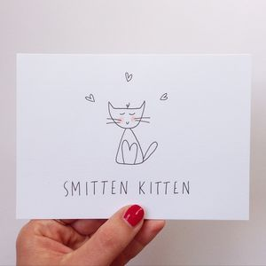 Hand Illustrated 'Smitten Kitten' Card
