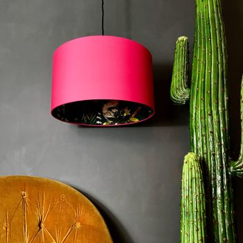 Teal Lemur Silhouette Lampshade In Watermelon Pink