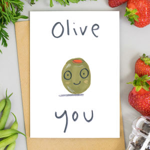 Olive You Valentines Card Or Print - funny valentine's cards