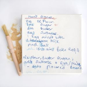 Personalised Sewn Recipe Canvas - memories of mum