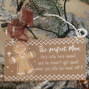 'Perfect Man' Gingerbread Novelty Sign