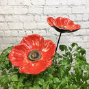 Set Of Two Cast Iron Poppy Bird Feeder Dishes