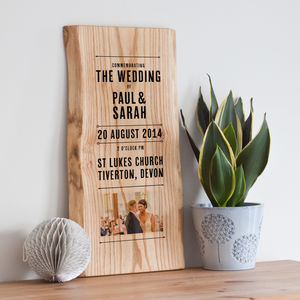 Personalised Wedding Day Memories And Photo On Wood