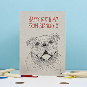 Bulldog Portrait Birthday Card - birthday cards