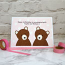'Bears' Personalised Twin Girl New Baby / Birthday Card