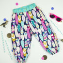 Girls Feather And Gold Print Harem Trousers