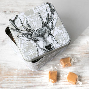 Scottish 'Tartan Stag' Fudge Tin