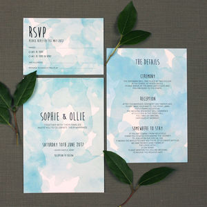 Watercolour Haze Wedding Invitation - wedding stationery
