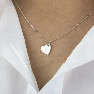 Personalised Initial Silver Heart Necklace - necklaces & pendants