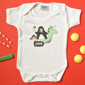 Personalised Penguin And Unicorn Babygrow