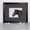 Galloping Black Horse Signed Mounted Giclée Print