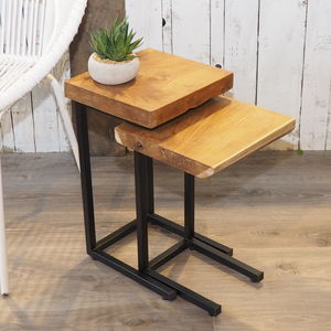 Industrial Wood Coffee Table Nest - side tables
