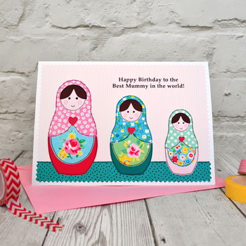 Personalise the card for a special mum, mummy, mammy, nan, grandma etc with your own wording above the dolls