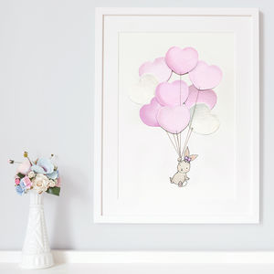 Personalised Heart Balloon Bunch Nursery Print - mixed media pictures