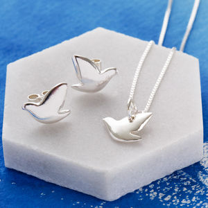 Sterling Silver Dove Pendant And Earrings Set