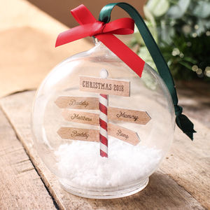Personalised Family Christmas Sign Post Bauble - tree decorations
