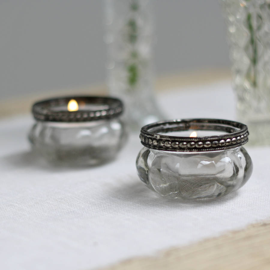 mini clear glass tea light holders with metal rim by the wedding of my dreams. Black Bedroom Furniture Sets. Home Design Ideas
