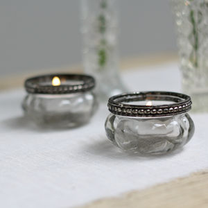 Mini Clear Glass Tea Light Holders With Metal Rim - dining room