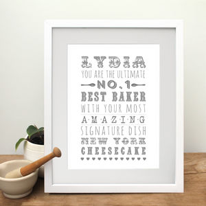 Number One Baker Print - food & drink prints