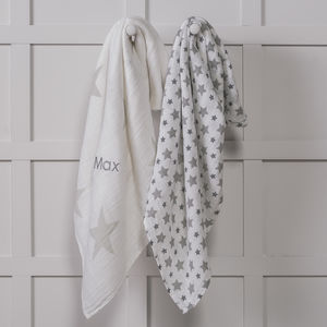 Personalised Twinkle Star Two Pack Swaddle Blankets
