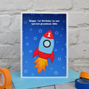 Boys / Mens large A5 sized rocket birthday card by Jenny Arnott Cards and Gifts