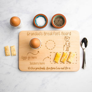 Personalised Egg And Soldiers Wooden Cutting Board