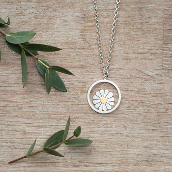 Large Daisy And Circle Pendant In Silver And 18ct Gold