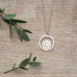 Large Daisy And Circle Pendant In Silver And 18ct Gold - necklaces & pendants