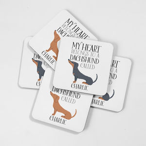 Personalised My Heart Belongs To A Dachshund Coaster