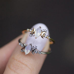 Opal And Cubic Zirconia Moon Ring In Silver Or Gold - rings