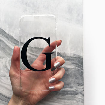 Clear And Black Alphabet Monogram Phone Case