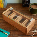 Personalised Etched Glass Solid Oak Watch Box