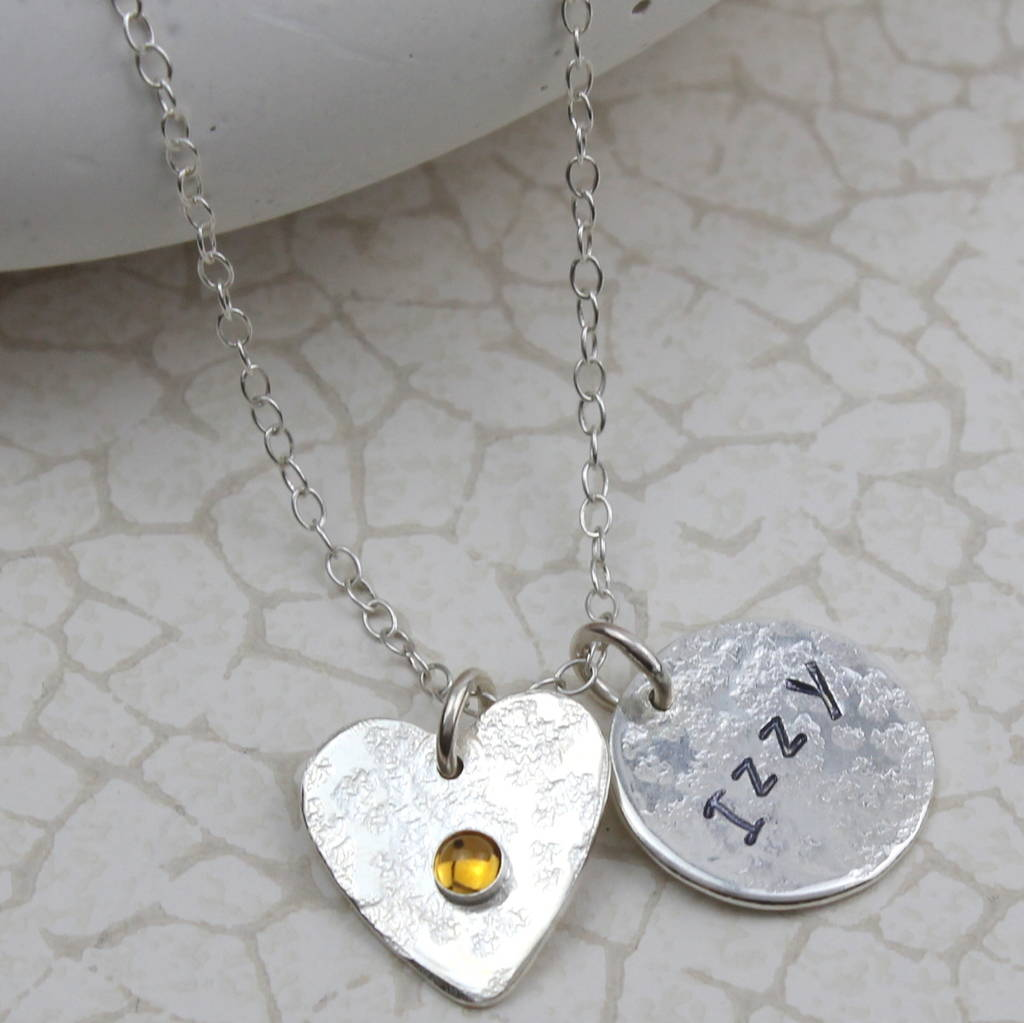 Sterling Silver Birthstone And Name Necklace