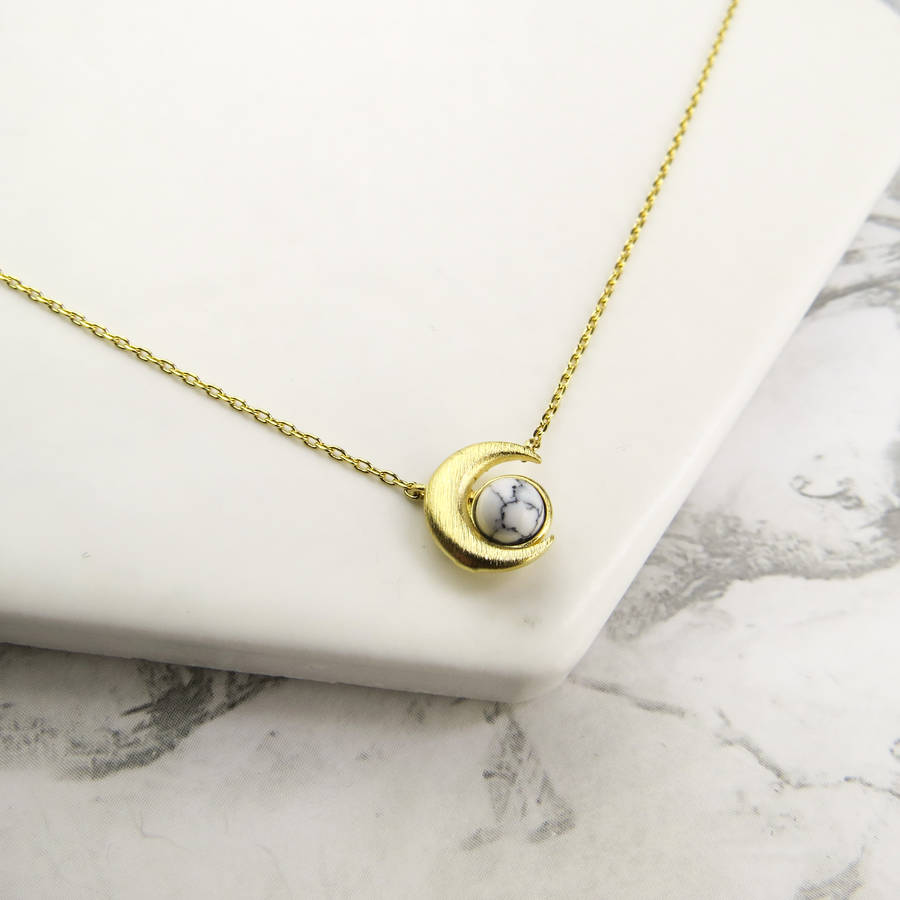 Crescent Moon Marble Necklace