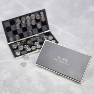 Personalised Chess And Draughts Travel Game - retirement & leaving gifts