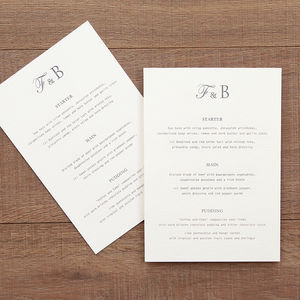 Letterpress Style Wedding Table Menu - menu cards