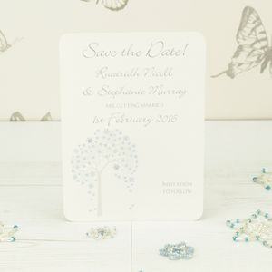 Personalised Winter Tree Save The Date Card - summer sale