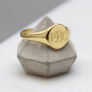 Mens Gold Monogram Oval Signet Ring - more