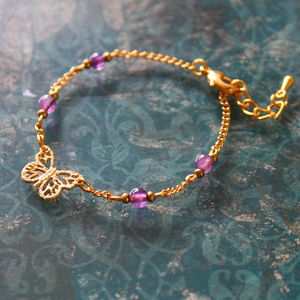 Children's Butterfly Charm Bracelet With Stones - children's jewellery
