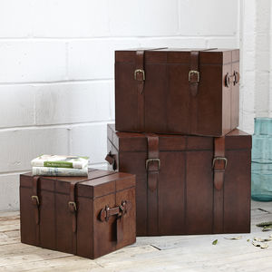 Leather Trunk In Small, Medium, And Large - children's room